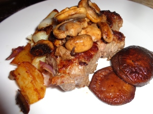 NEWPORTS on The PLATE With MUSHROOMS & ROAST POTATOES ...